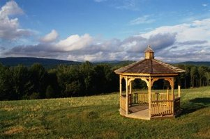 Wood gazebos can complement picturesque landscapes.