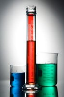 A graduated cylinder is used to measure volume.