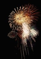 Metal compounds are used to produce different colors in fireworks.