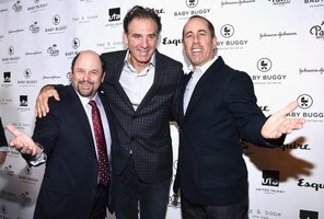 Seinfeld cast members Jason Alexander, Michael Richards and Jerry Seinfeld pose for a red carpet photo.
