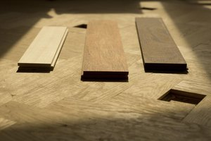(From left to right) maple, merbau and wenge wood flooring samples.