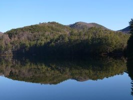 The lakeshore at Unicoi State Park in Helen provides rolling mountain vistas.