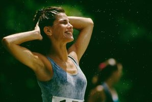 A woman sweating after a race.