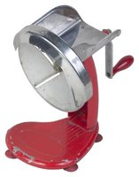 This manual food processor and slicer can be fitted with blades to julienne and dice.