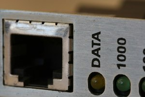 Backplate of an Ethernet card, with indicator LEDs and cable jack.