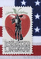 Close-up of Johnny Appleseed stamp.