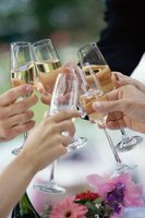 Close-up of champagne toast.