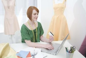Young female seamstress shopping online