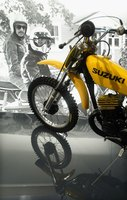 Suzuki shows its history of motorcycles at a show in New York in 2004.