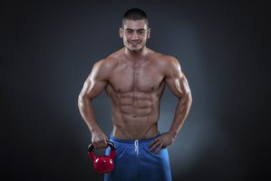 Develop washboard abs with kettlebell exercises.