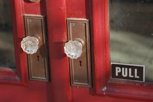 Antique crystal doorknob and hardware.
