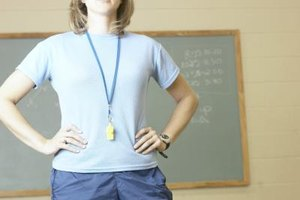Close-up of student gym teacher with whistle around her neck