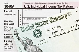 An overhead view of a tax refund check from the U.S. Treasury Dept.