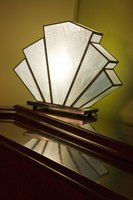 The geometric lines of this accent lamp exemplify Art Deco design.