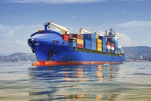 Large cargo ship on water
