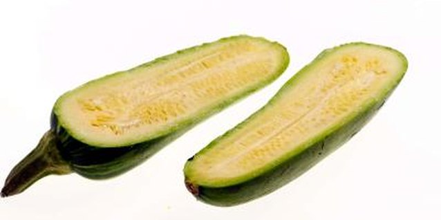 Zucchini seeds form within the fully mature squash.