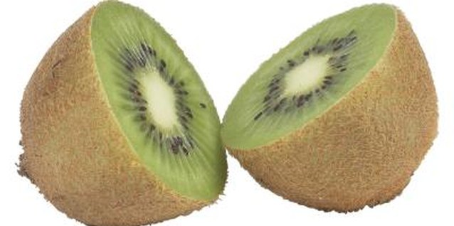Kiwis are produced on ornamental vines with large heart-shaped leaves and fuzzy red hairs along the stems.