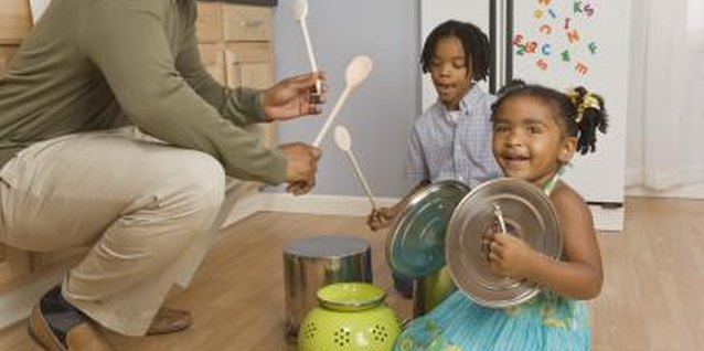Kitchen utensils make fantastic rhythm instruments for preschoolers.