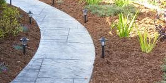 Solar landscape lights add a soft glow to the landscape.