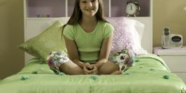 Lime green is a bold, fresh color for a girl's bedroom.