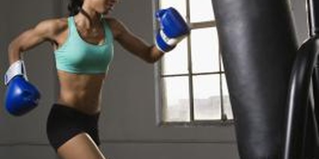 Women can regularly train using a punching bag.