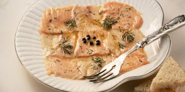 Salmon cooks quickly and flakes easily with a fork when it is done.