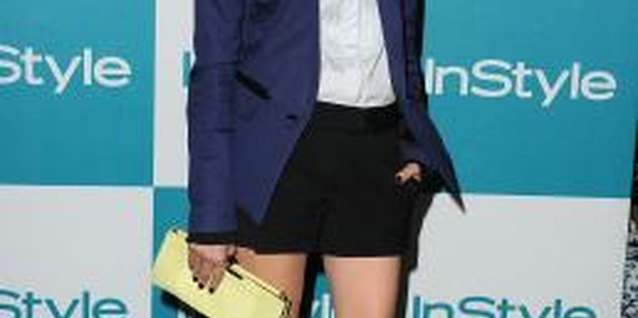A tiny bow tie, button-down and blazer make up a preppy-chic look on actress Diane Kruger.