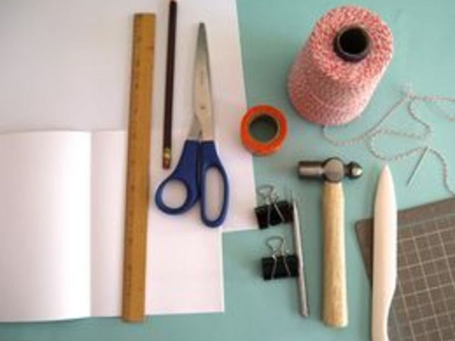 These are the supplies for decorative stitch binding.