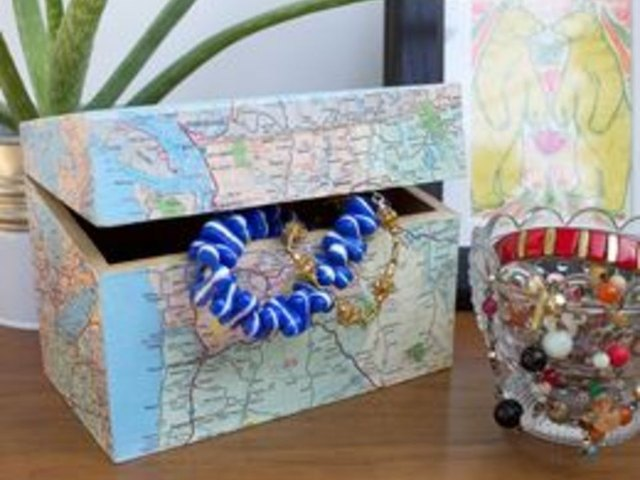 Decoupaged map jewelry box.