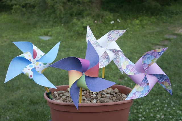 Bright pinwheels made from printed cardstock.