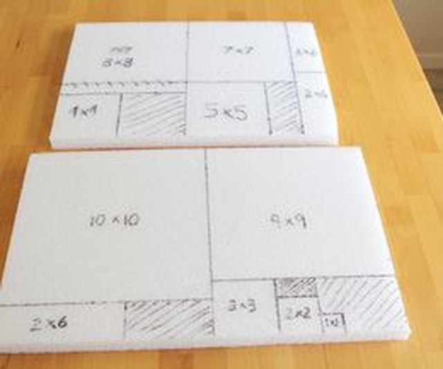 Divide your styrofoam into sections to make 10 progressively larger squares.