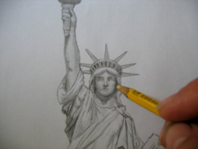 How to Draw the Statue of Liberty (with Pictures) | eHow Statue Of Liberty Drawing Face