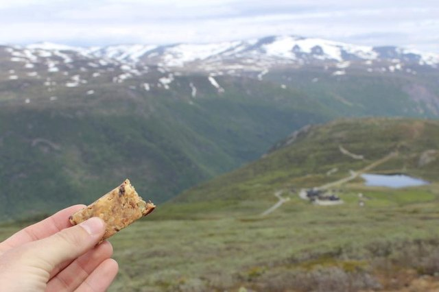 Energy bar with a mountain view
