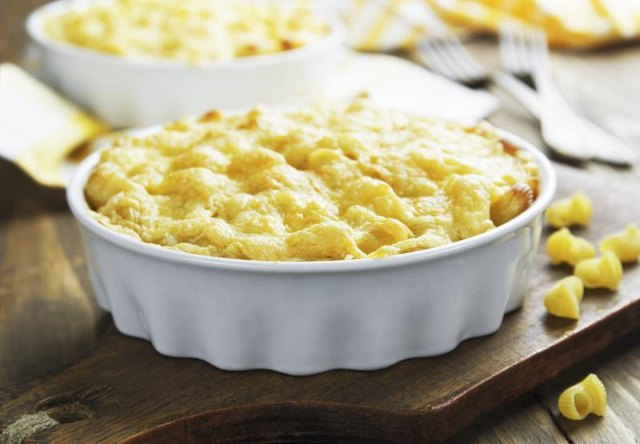 A small macaroni and cheese casserole.