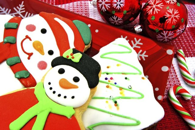Decorated Christmas cookies on platter
