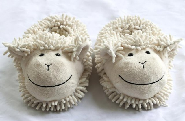 Fuzzy sheep bedroom slippers.