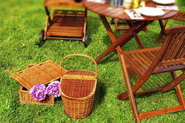 Cafe table in grass