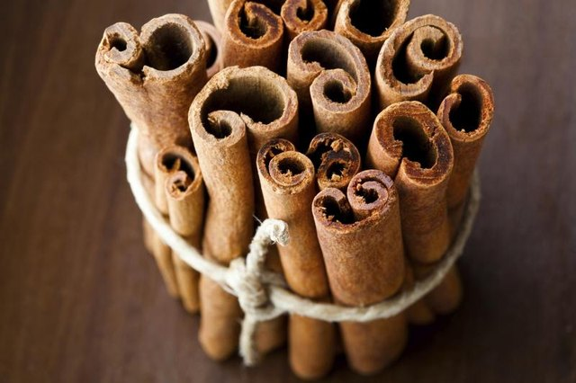 Bundled cinnamon sticks.
