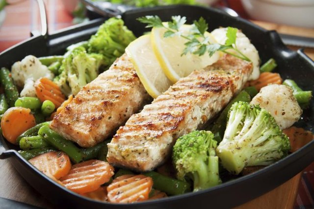 Plate of cooked salmon and broccoli.