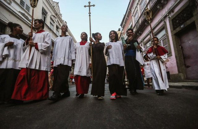 Christians are marching in the street.