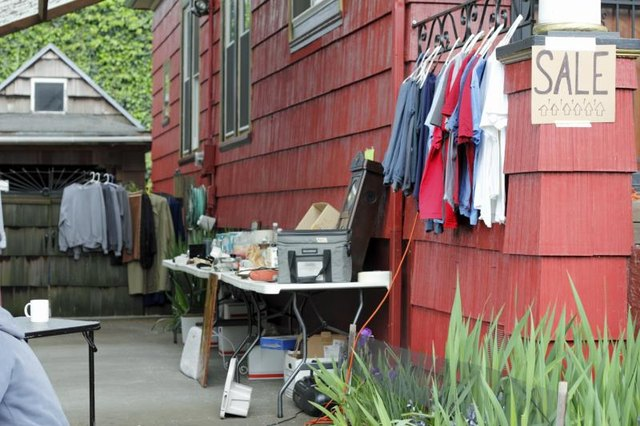 Selling no-longer-used items at a yard sale