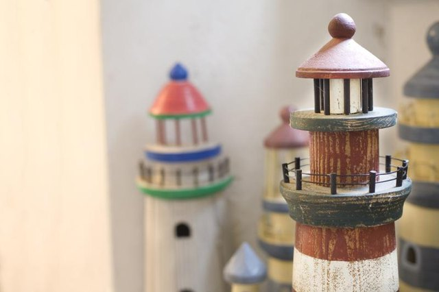 Wooden miniature lighthouses.