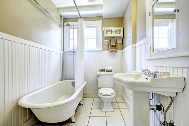 Wide shot of a bathroom.