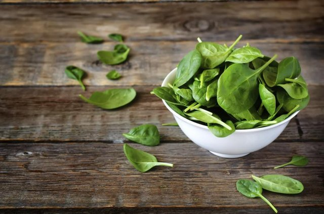 Small bowl of raw spinach.