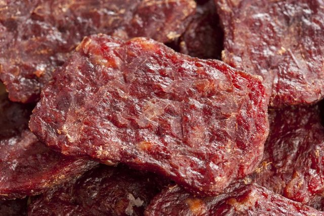 Close-up view of beef jerky