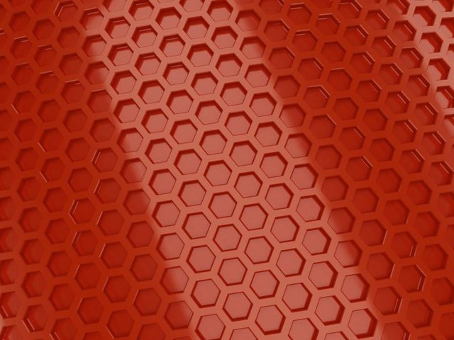 Red metallic hexagon wall