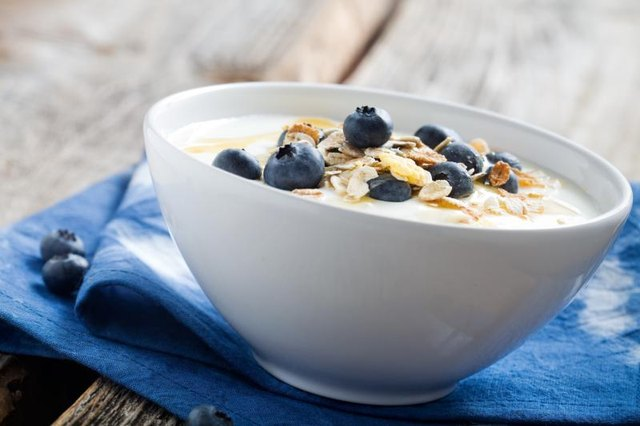 Small bowl of yogurt with blueberries and granola on top.