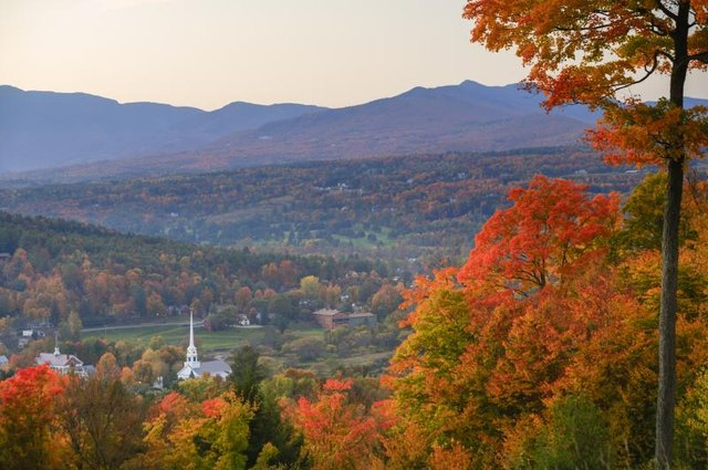 Stowe, Vermont in the autumn.