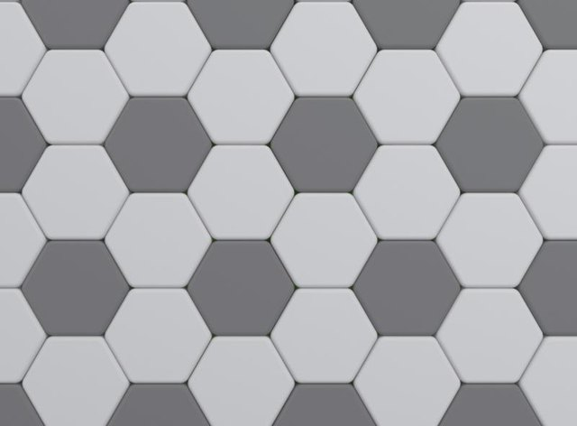 Close-up of hexagonal ceramic tiles