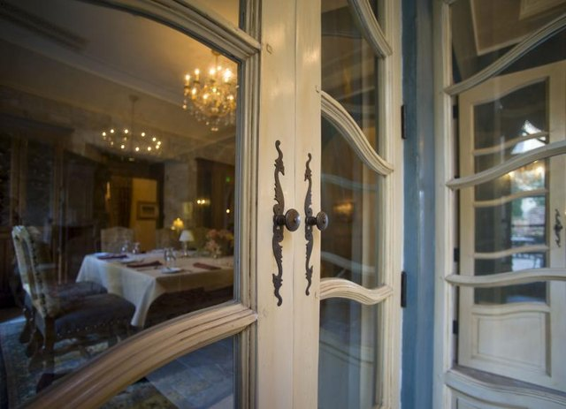 French doors leading into a dining room.